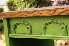 bright green with stained top, side table