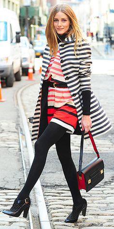 Who made Olivia Palermo's black handbag, white stripe coat, red stripe romper, and black ankle boots Style Olivia Palermo, Olivia Palermo Lookbook, Foto Fashion, Fashion Mode, Fashion Trends, 80s Fashion, Style Fashion, Look 2015, Vetement Fashion