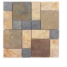 Jeffrey Court Slate Travertine Block Medley 12 in. x 12 in. Wall & Floor Tile-99123 at The Home Depot