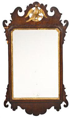 Espejo inglés de estilo georgiano en caoba y talla dorada, del siglo XIX