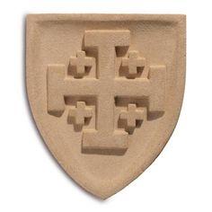 Holz Ritter Schild braun Mittelalter LARP Wappenschild Stahl Kreuzritter