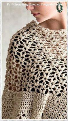 Patron poncho elegante a crochet para dama