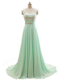 2017 Custom Made, Mint Green Chiffon Prom Dress,Beading
