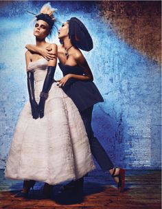 extreme couture: claire collins and emma xie by alexander neumann for l'officiel paris