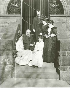 James Jerome Hill and Mrs. Mary Theresa Mehegan Hill with family on the steps of the south (back) servants' entrance terrace/Kitchen Porch of the James J. Hill House in Mr. James was 61 or and Mrs. Mary was 53 or Historical Sites, Historical Photos, Rachel Hill, Old Photos, Vintage Photos, Vintage Clothing, Vintage Outfits, J Hill, Minneapolis St Paul