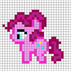 Perler Mania: My Little Pony, Friendship is Magic: Pinkie Pie. Pony Bead Patterns, Hama Beads Patterns, Beading Patterns, Cross Stitch Patterns, Diy Perler Beads, Perler Bead Art, Crochet Pony, C2c Crochet, Graph Paper Art