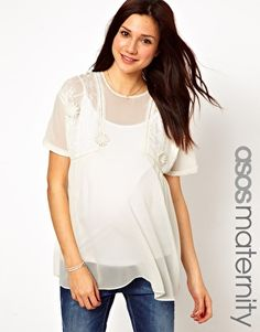 FASHION DUES & DUEN'TS - Retro Maternity Style Category   ASOS Maternity Tunic with Lace Inserts and Floral Applique