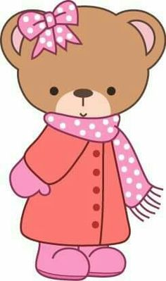 Bear in Coat, Mittens & Scarf Bear Clipart, Cute Clipart, Girls Quilts, Baby Quilts, Teddy Bear Sewing Pattern, Design Art Drawing, Baby Girl Toys, Cute Toys, Cute Bears