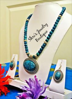 Insanely Beautiful neck piece in peacock blue with earring  Code : N08 Price : 130KR Status: SOLD