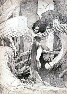 sketches and drawings Art Drawings Sketches, Cool Drawings, Dark Fantasy Art, Art Sketchbook, Ink Art, Aesthetic Art, Fantasy Illustration, Art Inspo, Art Reference