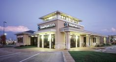 exterior of stone and stucco offices buildings | ViewPoint Bank- Euless, Texas