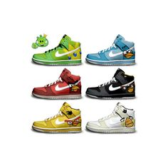 Angry Birds Nikes Dunks Shoes | Themed Shoes For Sale found on Polyvore