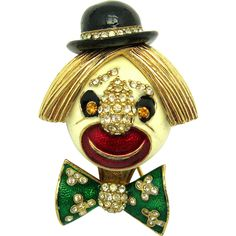 CINER Figural Clown Vintage Brooch Pin Enamel and Rhinestones Happy! Happy!