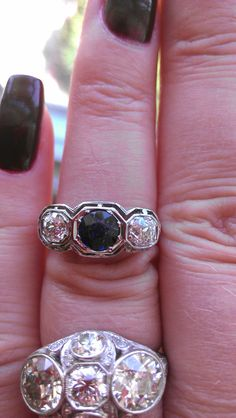 Antique 18k Gold Diamond Blue Sapphire by MADAMECKERSON on Etsy