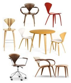 Various versions of Cherner chairs