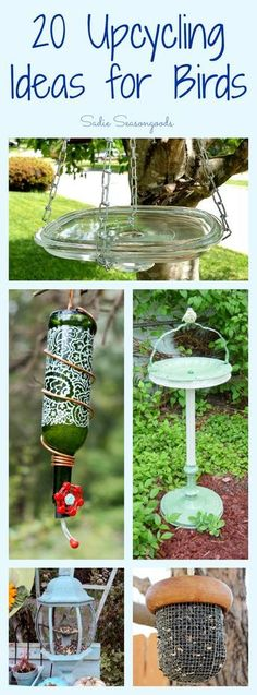 Creating your own wildlife-friendly yard is even more fun with you DIY bird feeders and baths using vintage and thrifted items! Lots of great upcycle / repurpose ideas in this collection. (fun projects for kids bird feeders) Bird Crafts, Garden Crafts, Garden Projects, Garden Art, Garden Ideas, Garden Totems, Garden Whimsy, Garden Junk, Diy Craft Projects