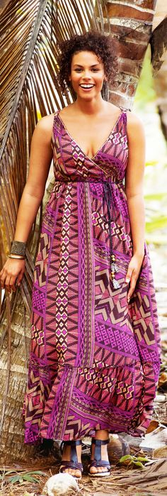 Plus Size Boho Hippie Clothing tribal print dress for plus