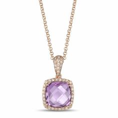 The unique cut and beautiful color of this royal Amethyst and Diamond Pendant from Luvente ensure it's on the top of her wish list.