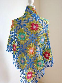 haakjuf: Japans haken ;-) Crochet Bolero, Poncho Au Crochet, Crochet Diy, Love Crochet, Crochet Flowers, Crochet Leaf Patterns, Crochet Motifs, Freeform Crochet, Crochet Squares