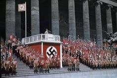 """Caption:""""Reich Minister of Propaganda Joseph Goebbels speaking at the Lustgarten in Berlin, 1938."""" The photo delivers an excellent example of Nazi propaganda tactics emphasizing mass parades and events with strong theatrical elements."""