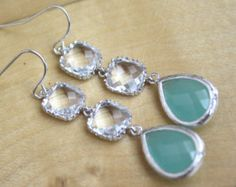 Aqua Earrings, Dangle Earrings, Mint Wedding, Bridesmaids Jewelry, Bridesmaids Gift, Gifts for Her