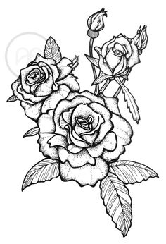 Rose tattoo, pointilism Illustration by Studio Anika Bosker