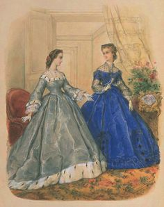 La Mode Illustree 1863 -- dinner dresses. Like the lace body under what looks like an evening bodice