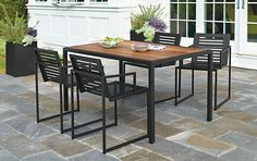 Montego Table & Cruz Chairs in Graphite - Outdoor - Room & Board