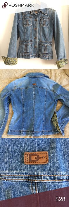 """DKNY JEANS Jean Jacket S Gently used DKNY JEANS Jean jacket. Very flattering jacket with tapered waist. Great for day in the town. Throw it on and you're good to go. Approximate measurements: armpit to armpit 18 1/2"""" (buttoned up), Center from neck to hem 19 1/2"""", sleeve length from armpit to wrist 18 3/4"""". Comes from smoke and pet free home. DKNY Jackets & Coats Jean Jackets"""
