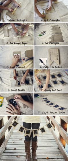 How to make burlap/chalkboard sign garland via Project Alicia although it might be hard for me to find burlap in this country.. ha :)