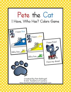 Pete the Cat Colors Game for large group activities. $1.50