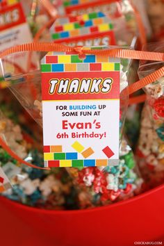 LEGO theme birthday party favors