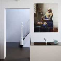 Classical dutch art (color) with modern 'lodge' decor (in all white). Unique Wall Decor, Modern Decor, Wall Art Decor, Make Your Own Wallpaper, Wood Room Divider, Room Dividers, Modern Lodge, Divider Design, Modular Walls