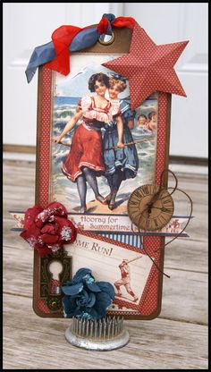 July Place In Time Tag ~ This would make a cute embellishment for a heritage summer or beach page.