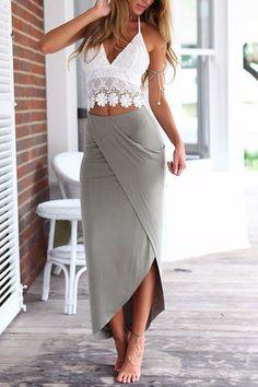 Sexy Lace culo Top y Splited falda de dos piezas de trajes
