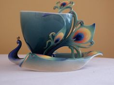 RANZ Porcelain Luminescence Peacock Design Cup, Saucer and Spoon Tea Set Collectible China