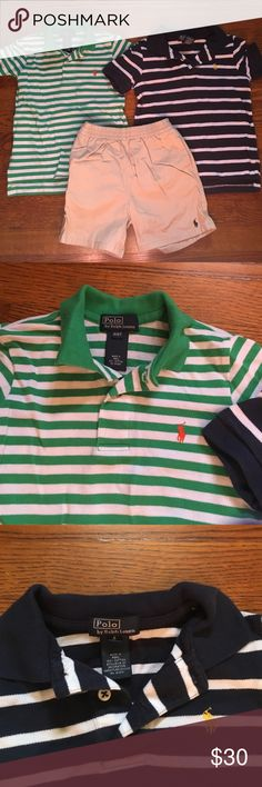 Lot of 3 Ralph Lauren bits clothes size 4 2 polo shirts and a matching pair of tan shorts all boys size 4 Polo by Ralph Lauren Shirts & Tops Polos