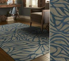 Hand-crafted and chic. This contemporary area rug offers oversized motifs. Style Dewpoint color Blue.