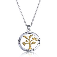 A fashionable way to honor your family, this family tree necklace reiterates to live, laugh, and love together is part of what binds them for life—even more than blood. The contrast of the silver and