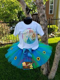 Frozen Fever Tutu Set Frozen Birthday Outfit by TreasuresByTrin