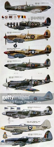 Magazine centrefold showing different versions of the Spitfire painted in the markings of various squadrons and air forces. Profiles of this type provide invaluable reference for researchers and...