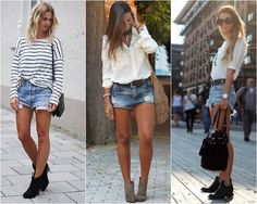 short jeans com Look Short Jeans, Look Con Short, Fall Outfits, Summer Outfits, Casual Outfits, Bermudas Fashion, Rocker Style, Winter Looks, Poses