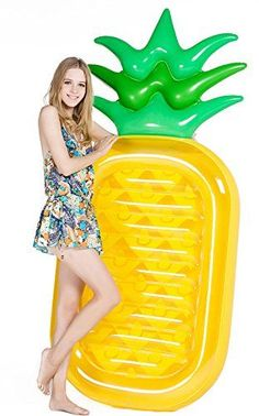 9f2142eff608 Jasonwell Giant 76 Pineapple Pool Party Float Raft Summer Outdoor Swimming  Pool Inflatable Floatie Lounge Pool Loungers Decorations Toys for Adults