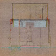 Brion Cemetery Meditation Pavilion drawing - Carlo Scarpa Diffferent materials laid out