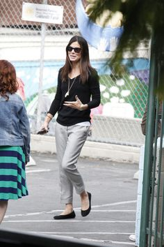 Sandra Bullock Slacks - Sandra Bullock opted for a pair of casual gray slacks for her daytime look while out in LA.