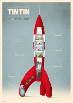 A schematic of tintin, Objectif Lune... Illustration by Matt Bondi in Illustration & Painting