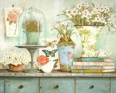 Kathryn White: Garden Collectables Fertig-Bild 40x50 Landhaus Shabby Deko | eBay