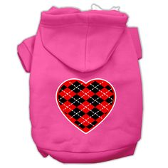 Mirage Pet Products Argyle Heart Dog Hoodie. Dress your dog for Valentine's Day Celebrations. $15.98