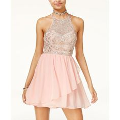 B Darlin Juniors' Embellished Fit & Flare Dress (87 CAD) ❤ liked on Polyvore featuring dresses, bee blush, pink fit-and-flare dresses, pink cocktail dress, pink fit and flare dress, pink dress and embellished cocktail dress