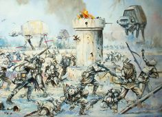 """Hoth Snow Battle (The Empire Strikes the Rebel Stronghold) """"The motivation behind this painting was to effectively illustrate the conditions..."""